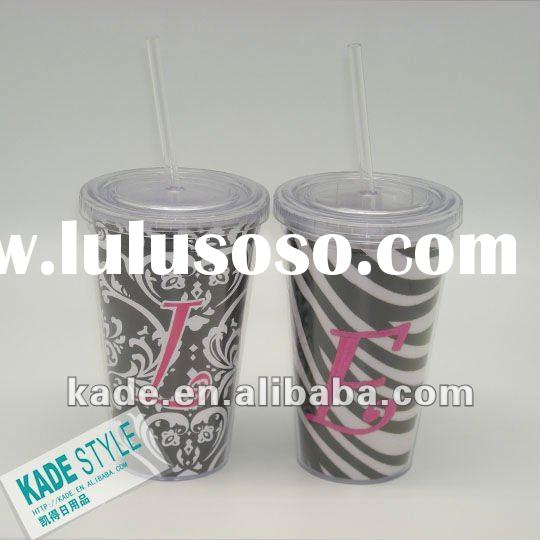 500ml plastic tumbler with straw &lid