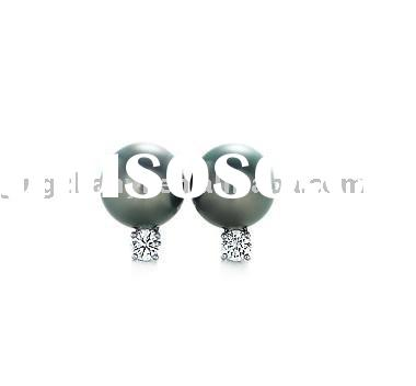 925 silver stud earrings with seawater pear--customize