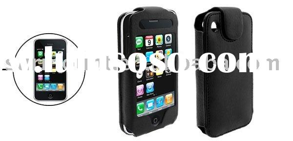 Black Leather Case with Magnet Closed Design for Apple iPhone 3G