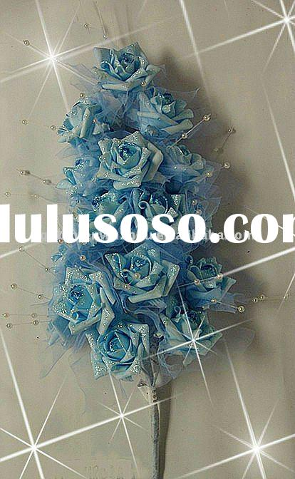 Blue Artificial Roses Flowers Bunches for Wedding Decoration