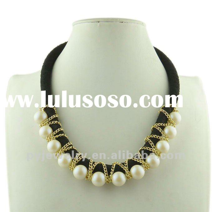 Cheap Pearl Necklace With Black String, Women Fashion Costume Jewelry
