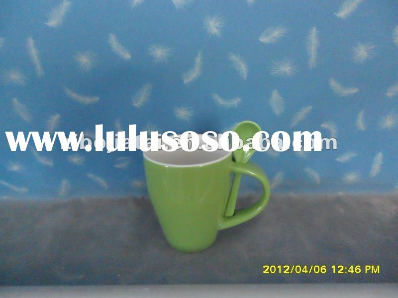 Color Glazed Ceramic Coffee Mugs With Spoon