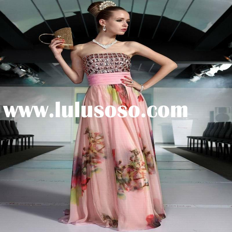 DORISQUEEN Fashion Strapless Beaded And Printed Bangkok Dresses