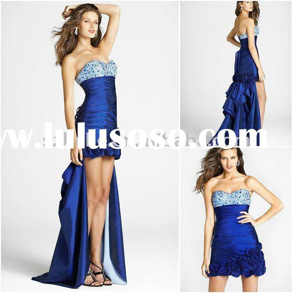 Jun Mei P0032 Beautiful beaded taffeta royal blue strapless detachable train prom dress