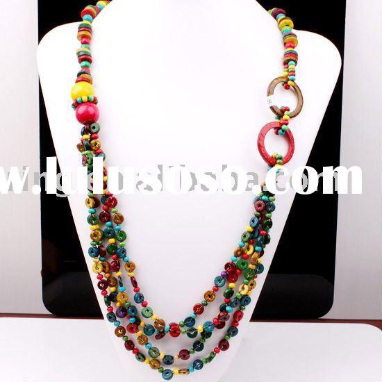 Multi-color Coconut Shell Round Beads Necklace