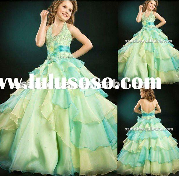 Newest Design Organza Spaghetti Straps Backless Layered Puffy Hemline Flower Girl Dress 2012