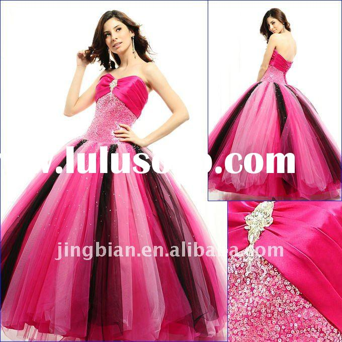 Outrageous Tulle and Satin ball gown sweetheart neckline cute tulle skirt prom dress SH679