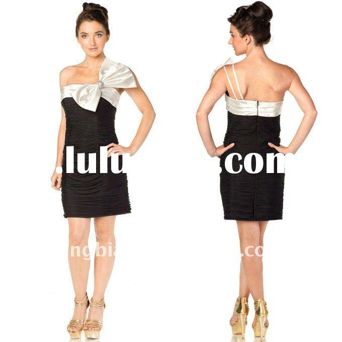 Short elegant and sophisticated Prom Party Dress with a White Big Bow on Neckline 2011 China Cheap C