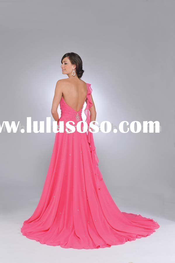 Top designer Fuchsia one shoulder chiffon crystals Pageant prom Dresses prom031