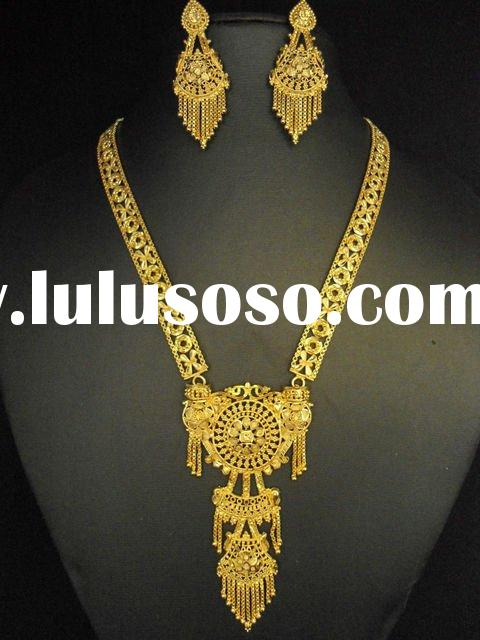 fashion jewelry designs gold plated necklace set
