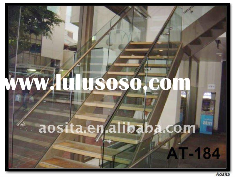 stainless steel and glass indoor staircase handrail