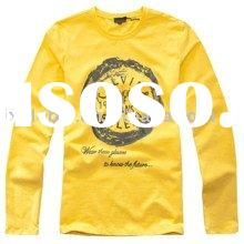 2011 autumn solid color long sleeve high quality yellow men's t shirts