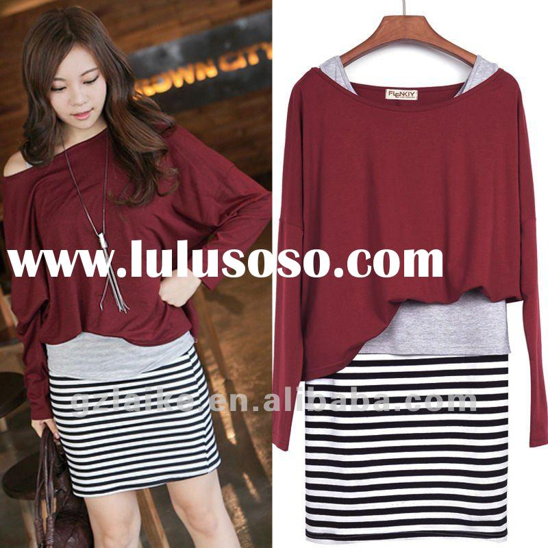 2012 lady spring long sleeve stripe dress