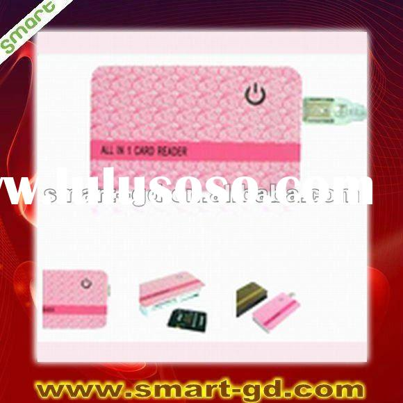new hot sale all in one mini portable credit pocket card shape SD/XD/MS/CF/TF card reader