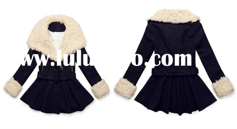 2011 New Fashion Fur Collar and Sleeves Girl Winter Dress Coats with A Waistband