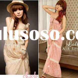 2011 new ~ Indian beads bohemian feather sling pink lace long dress FY3489
