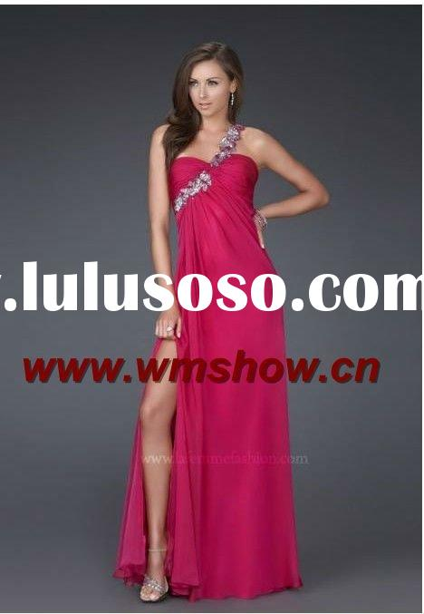 2012 Beautiful Hot Sale Sweetheart One-Shoulder Red Name Brand Evening Dress
