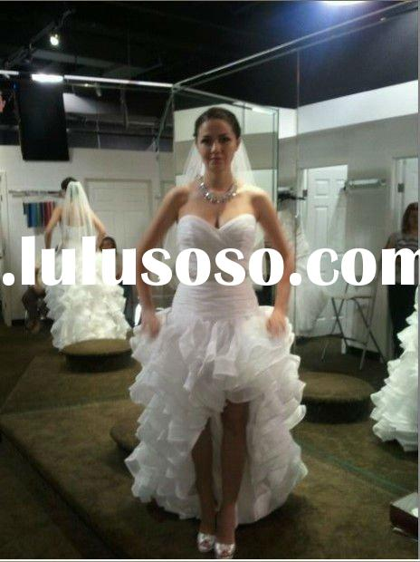 2012 Elegant Real Sweetheart Front Short And Long Back Wedding Dress