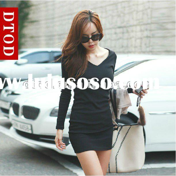 2012 Hot selling fashion long sleeve lady casual ultra short dress