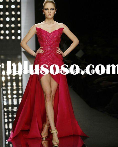2012 fancy design satin sequins evening dress with long train