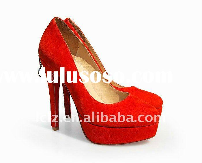 2012 suede closed toe platform woman shoes CLF048 free shipping (in stock)