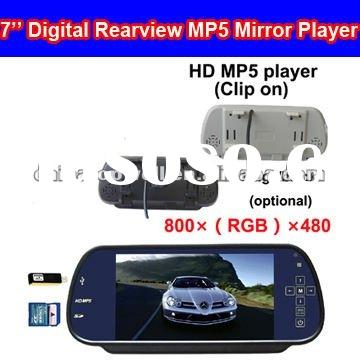 7'' Touch Keys 800*480 Digital Rear View Mirror MP5 Player