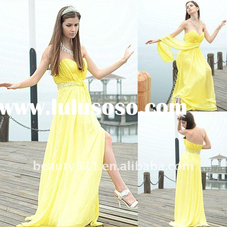 Astergarden real photo Strapless Chiffon Yellow Side Seam Sweet Frock Design Dress AS118
