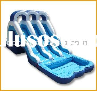 Blue Inflatable Water Slide With Pool