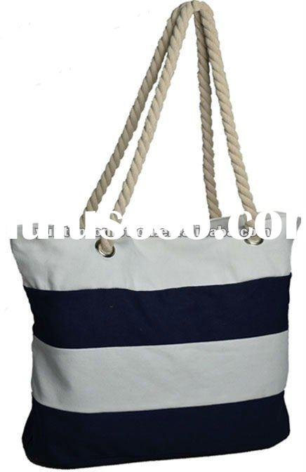 Blue white stripe canvas bag with cotton rope handle