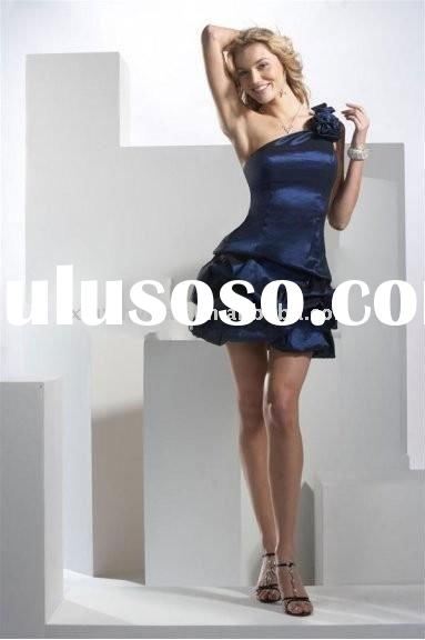 Dark Blue A-Line One Shoulder Short Taffeta Prom Dress