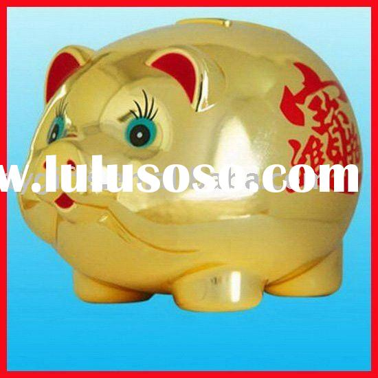 Gold pig shape coin bank, saving bank, money bank