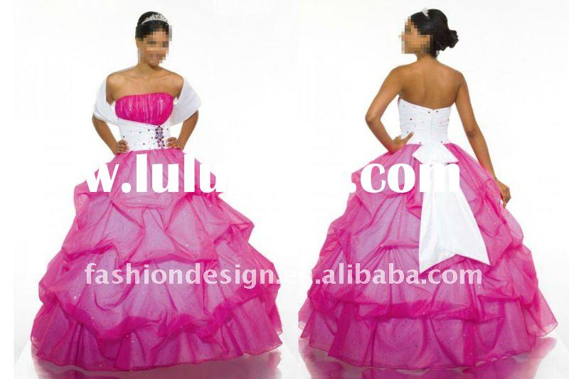 ME-52 Designer swarovski crystal with strapless with ruffle strapless pink tulle layered Ball Quince