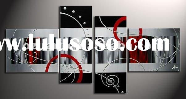Modern Art Abstract Group/Triptych Oil Painting on Canvas