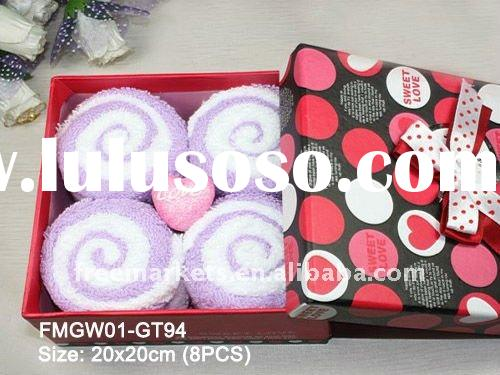 NEW Design! Love Candy Towel Gift Box ,wedding favor face towel box,quality washcloth towels