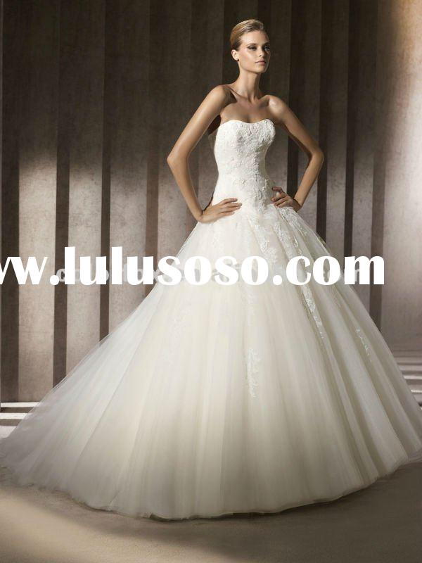 Perfect Strapless Tulle Ball Gown Chantilly Lace with White Beads Bridal Dress