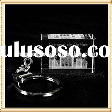 Personalized 3D Laser Crystal Key Ring Engraved Building For Holiday Gift