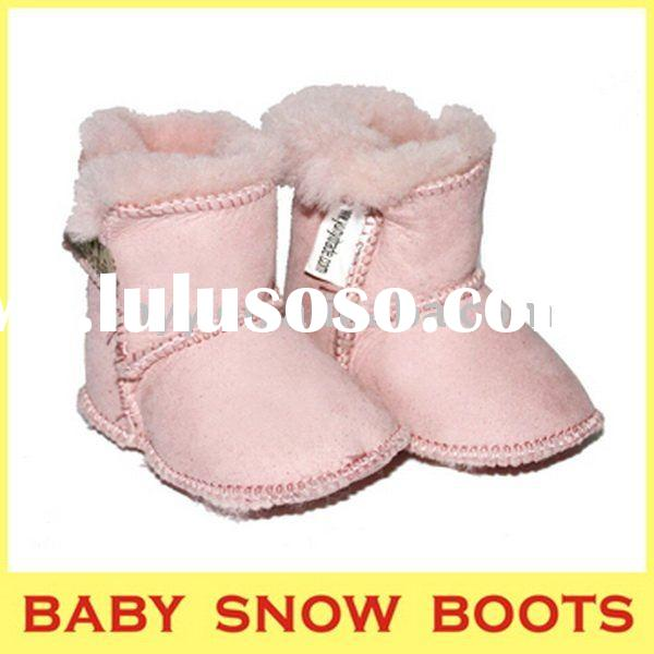 Popular baby snow boots soft sole double face sheepskin boot