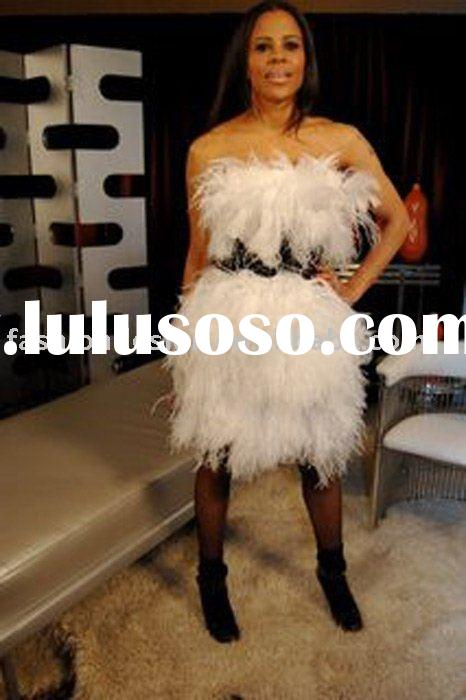 R025 Feather celebrities dresses Red carpet prom dresses
