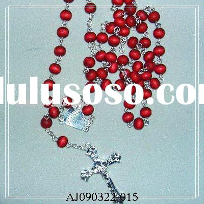 Red Wooden Rosaries Necklace,Wood Rosary,Wooden beads Necklace