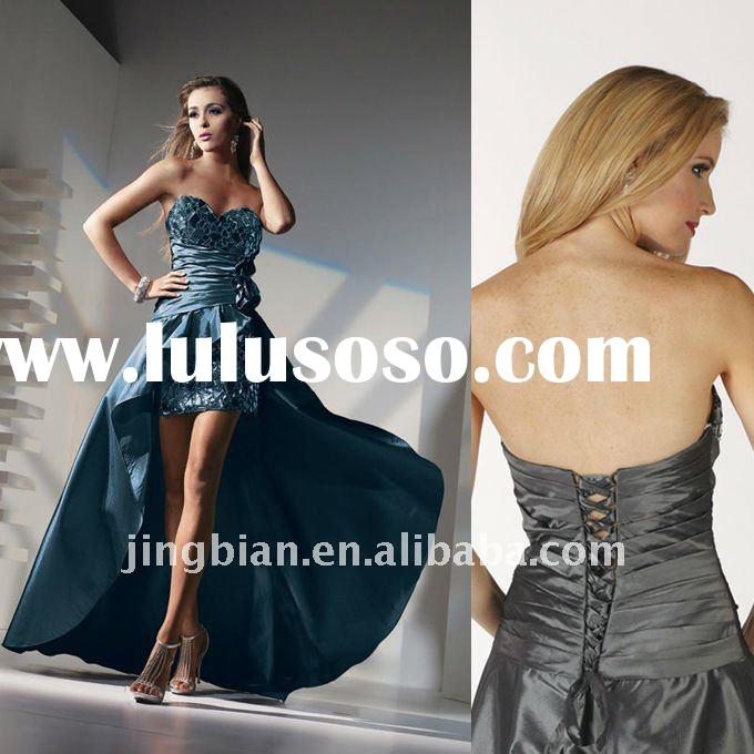 Unique one-piece strapless sweetheart long Evening Dress with attached train, front short skirt and