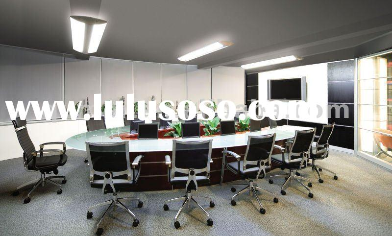 oval conference table with LCD lift mechanism