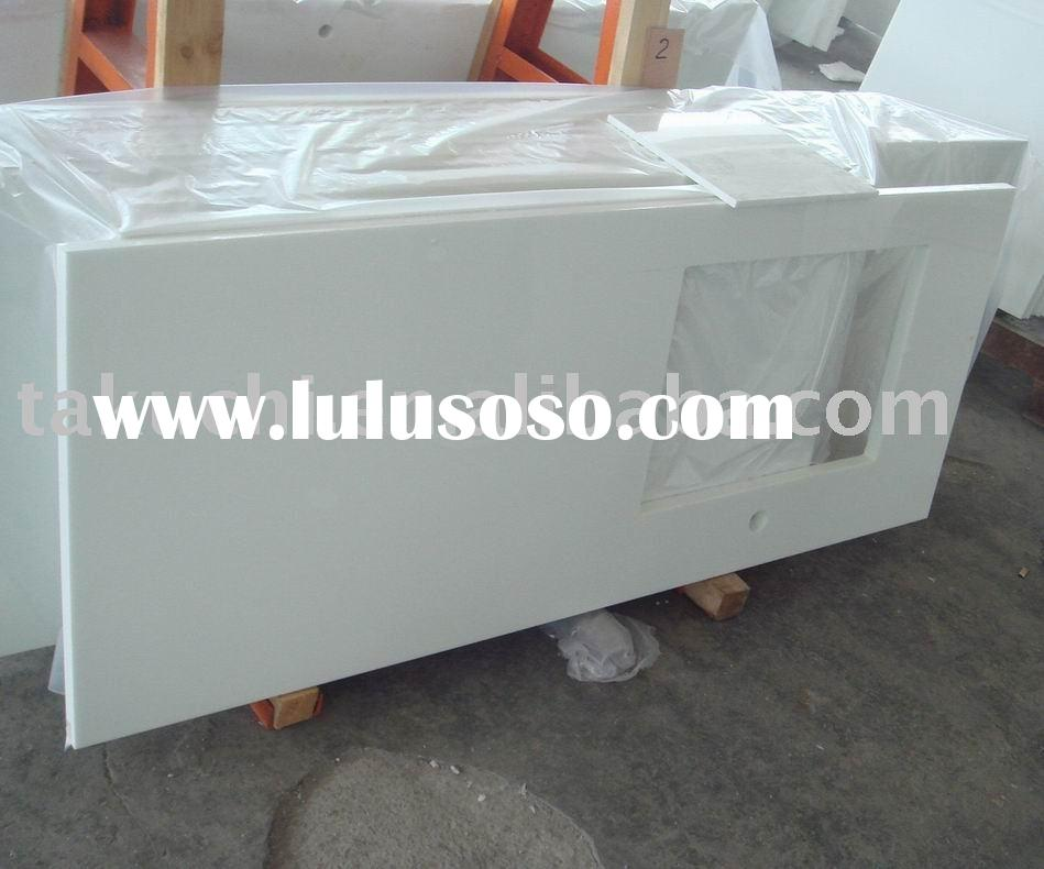 pure white crystallized glass countertop