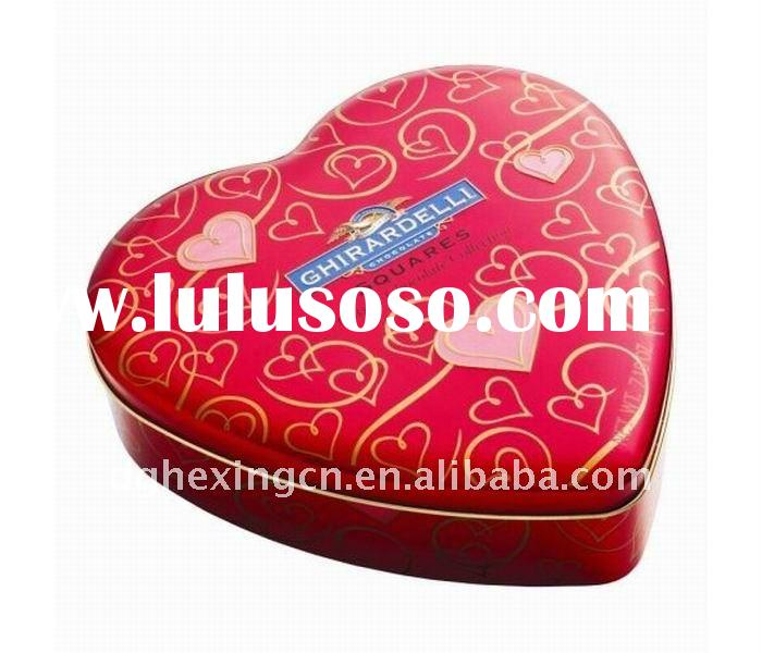 red heart tin gift box
