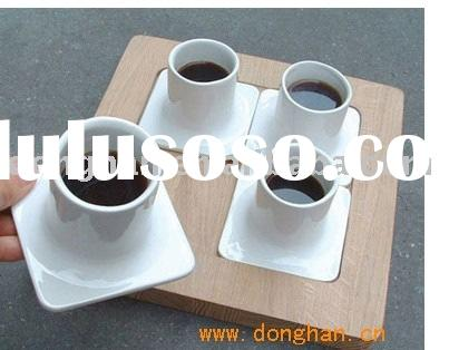 super white ceramic coffee cup sets with wooden tray