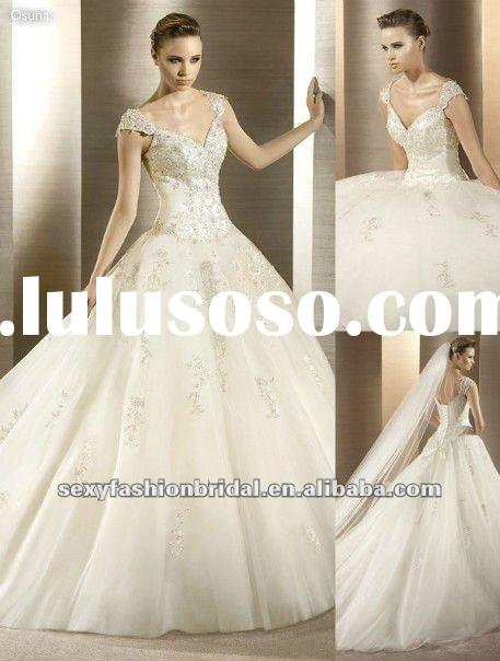 2012 vintage style cap sleeves embroidery beaded ball gown princess wedding dresses 2012