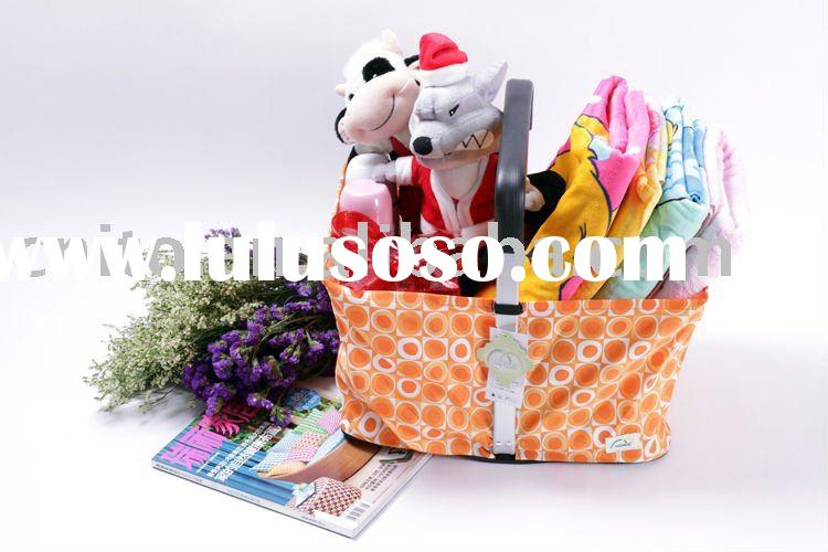 OEM Collapsible Folding Handle Fabric Shopping Supermarket Grocery Storage Basket