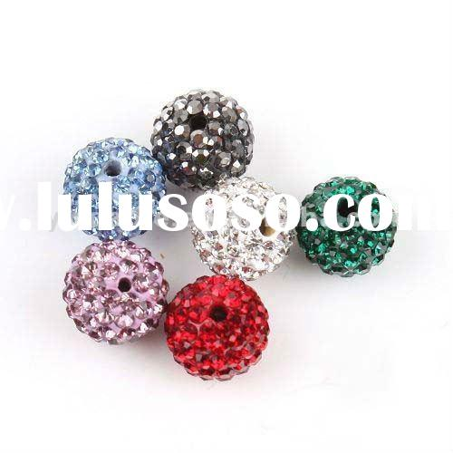 Wholesale Mix Bright Color Crystal Shamballa Beads , 10mm Crystal Ball