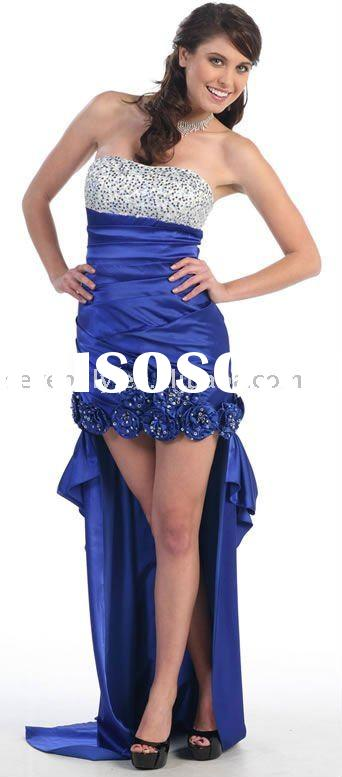2012 New Strapless Nice Beading Detachable High-Low Hem Prom Dresses