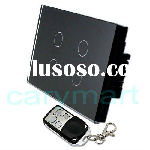 4 gang one way black hard panel intelligent remote control and touch sensitive wall switches smart h