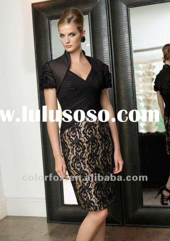 Elegant Black Lace Skirt Knee Length Evening Suit